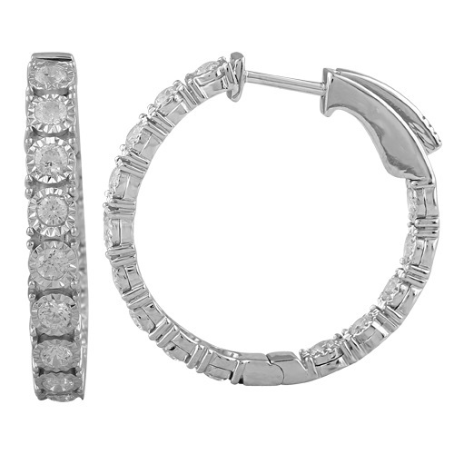 Ier100 14k White Gold And Diamond Round Shaped Inside Out Hoop Earrings Svs Fine Jewelry