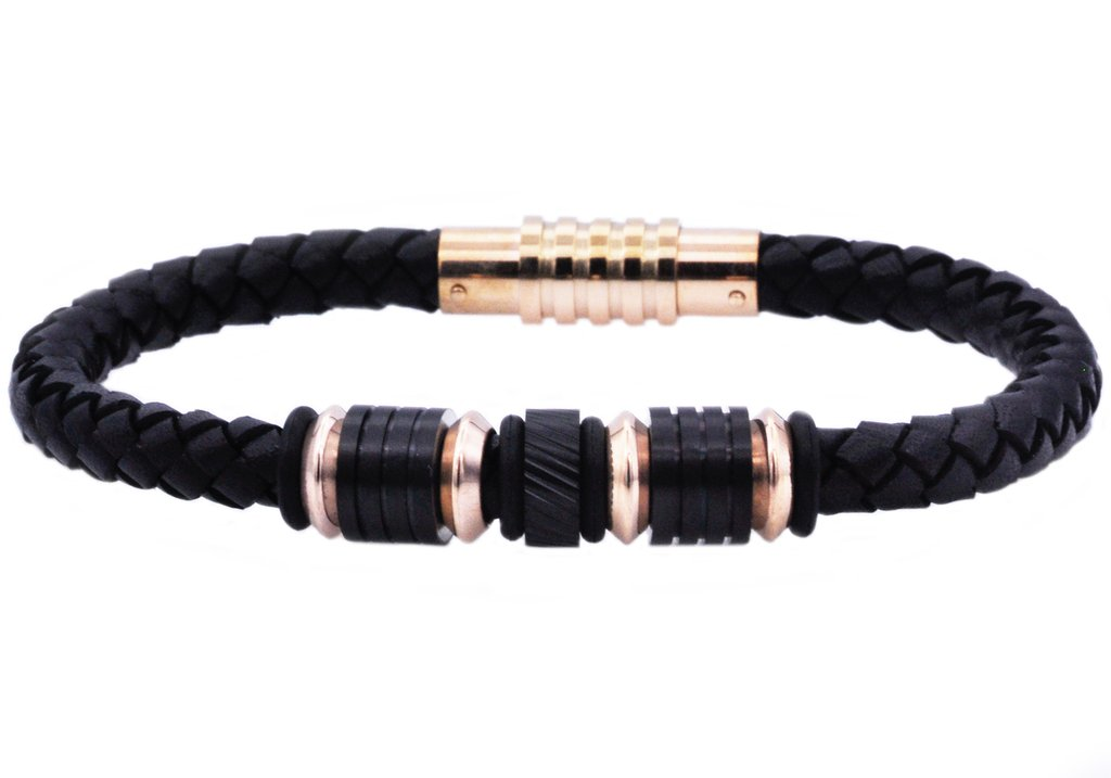 Fine Jewelry Mens Black Leather and Stainless Steel Bead Bracelet FAjnqRm