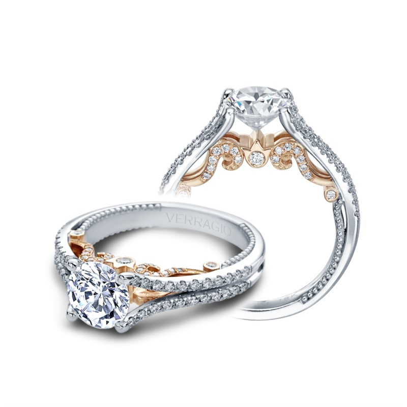 Verragio Insignia Collection White & Rose Gold Engagement Ring