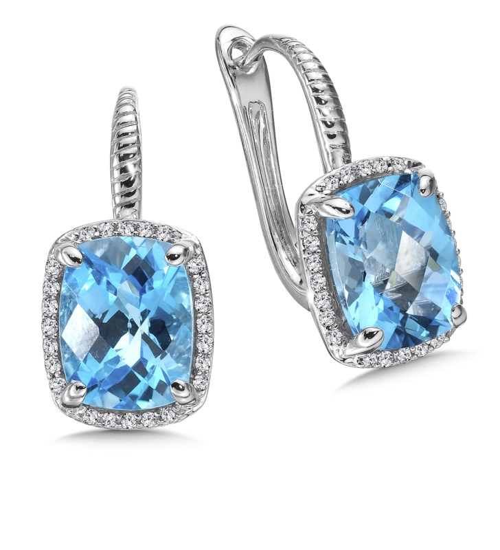 Colore Oro 14K White Gold Blue Topaz and Diamond Earrings by Colore SG Jewelry