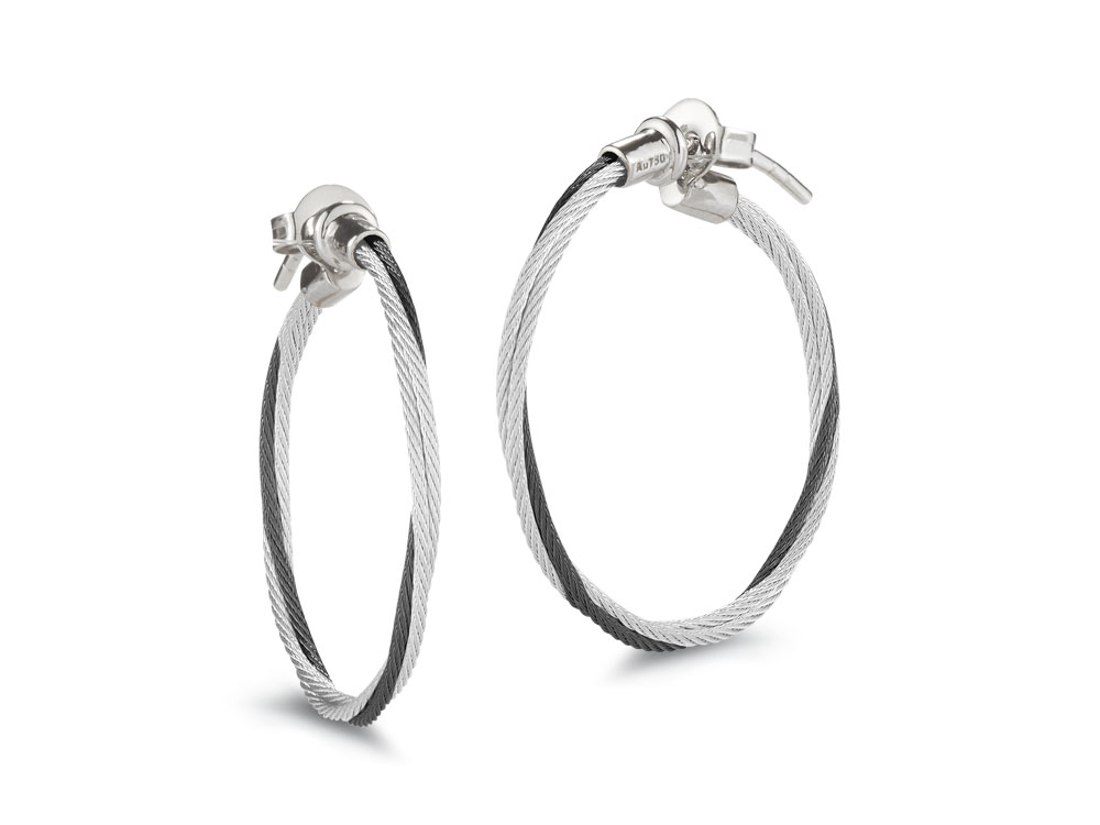 ALOR Black And Grey Cable Hoop Earrings by ALOR Fine Jewelry