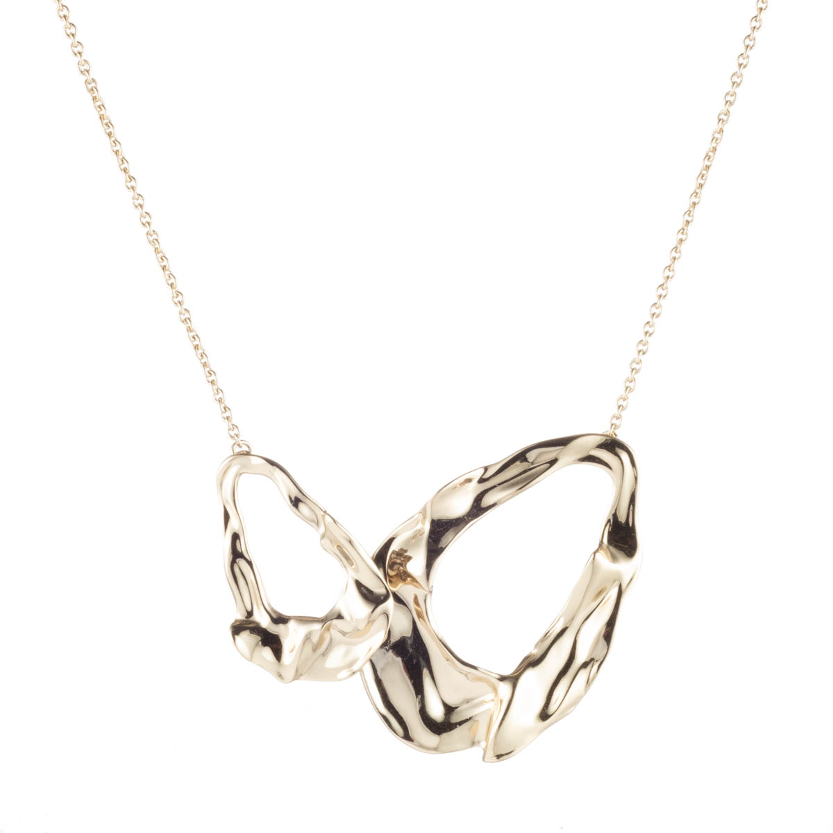 Alexis Bittar Crumpled Gold Link Necklace by Alexis Bittar
