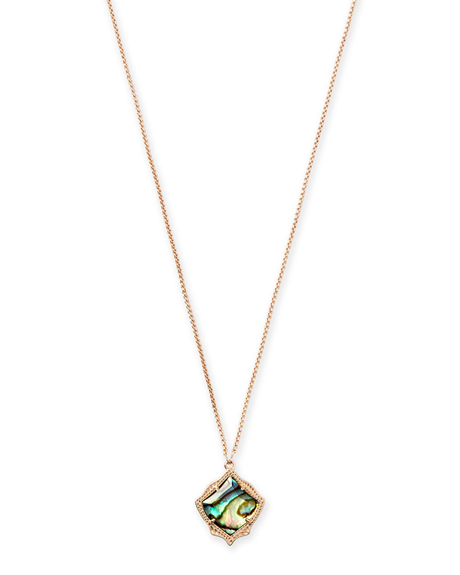 Kendra Scott Kacey Rose Gold Long Pendant Necklace In Abalone Shell by Kendra Scott