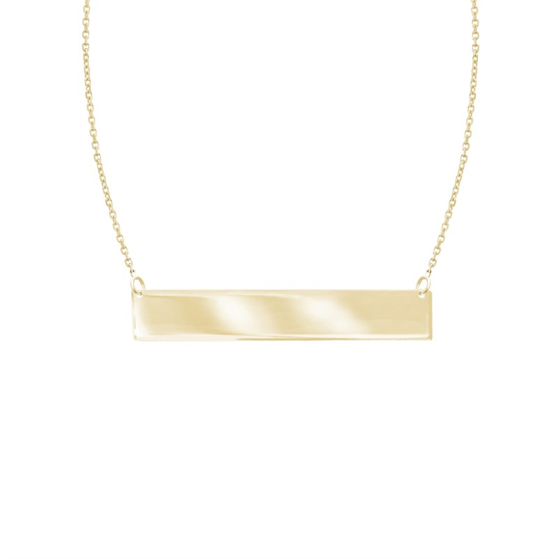 Yellow Gold Adjustable Mini Name Plate Necklace by Midas