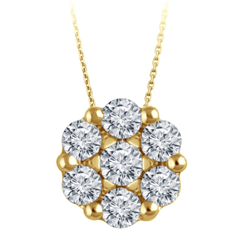 Yellow Gold Diamond Flower Cluster Necklace by The SVS Signature 89 Diamond Collection