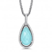 Sterling Silver, Turquoise, And Quartz Fusion Pendant by Colore SG Jewelry