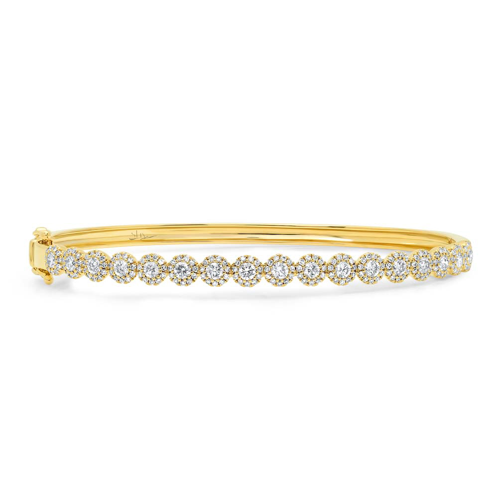 Yellow Gold And Diamond Bangle by Shy Creation