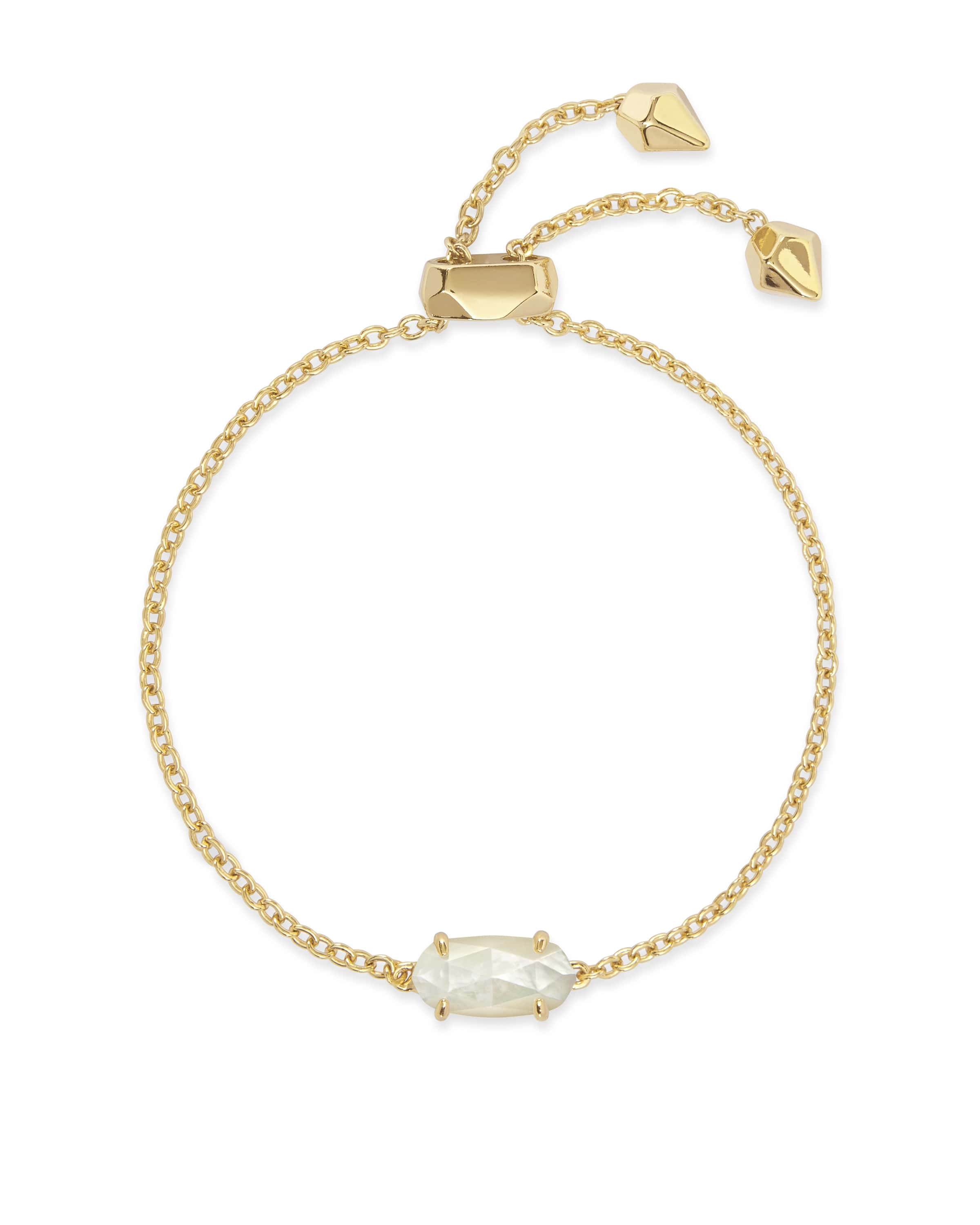 Kendra Scott Everlyne Gold Adjustable Bracelet in Ivory Mother of Pearl by Kendra Scott