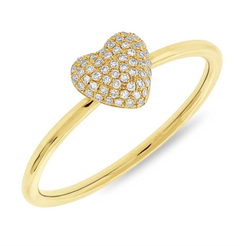 Yellow Gold And Diamond Heart Ring by Shy Creation