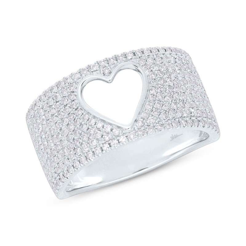 White Gold And Diamond Pave Heart Ring Size 7 by Shy Creation