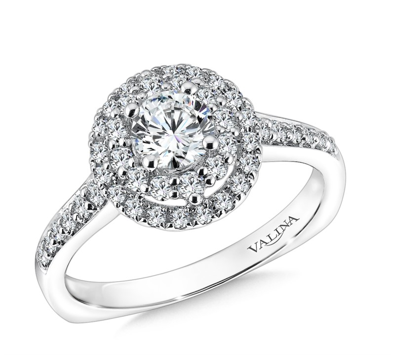 Valina 14K White Gold Double Halo Engagement Ring by Valina