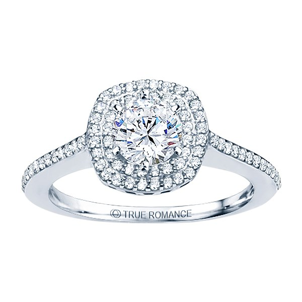 True Romance 14K White Gold Cushion Halo Engagement Ring by True Romance