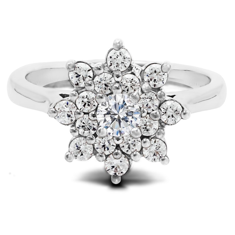 True Romance 14K White Gold Flower Halo Engagement Ring by True Romance