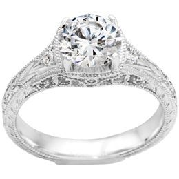 True Romance 14K White Gold Vintage Inspired Engagement Ring by True Romance