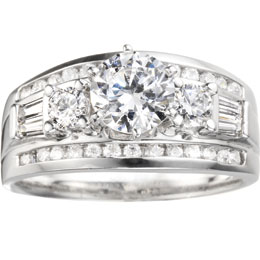 True Romance 14K White Gold Contemporary Engagement Ring by True Romance
