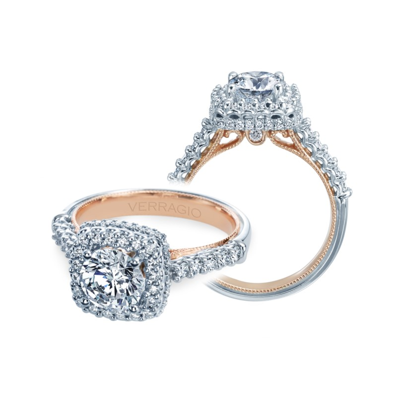 Verragio Classic Collection White & Rose Gold Engagement Ring by Verragio