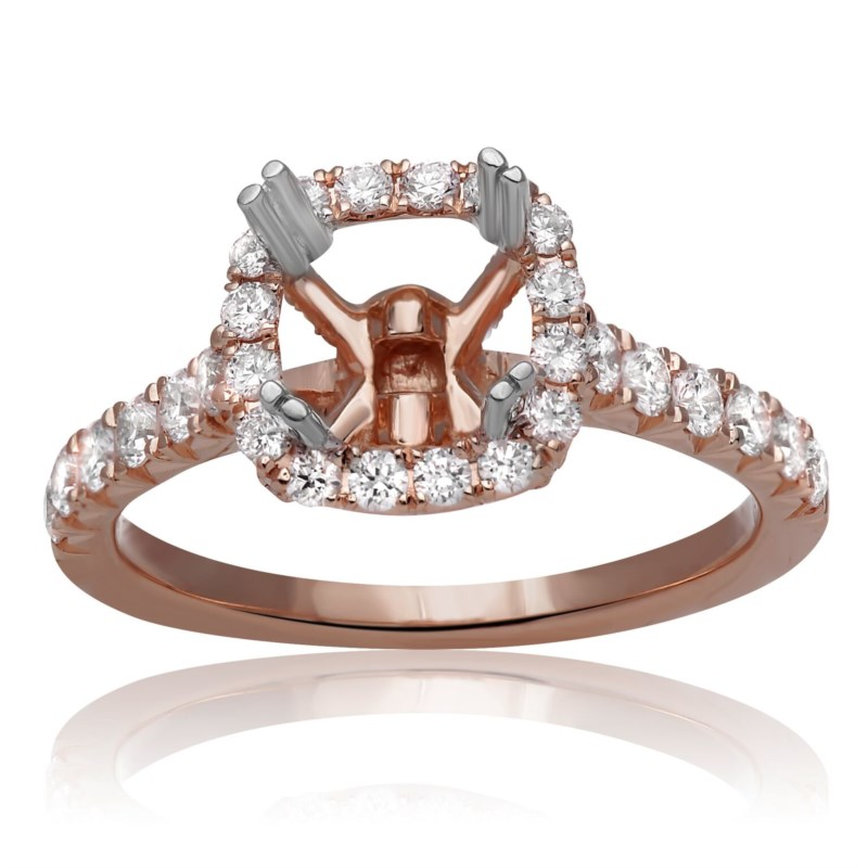 Rose Gold Cushion Halo Classic Diamond Engagement Ring by Roman + Jules