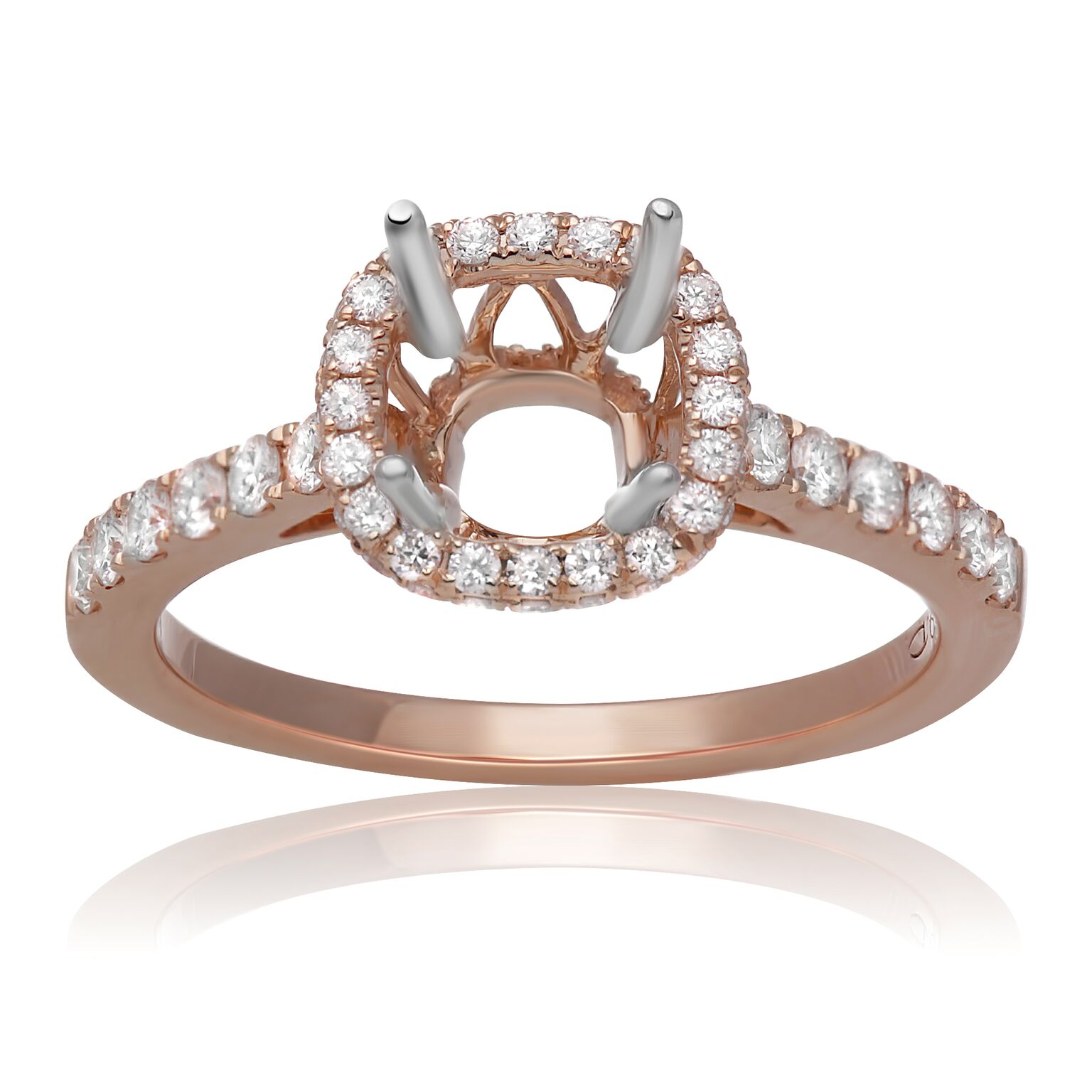 Rose Gold Round Halo Classic Diamond Engagement Ring by Roman + Jules
