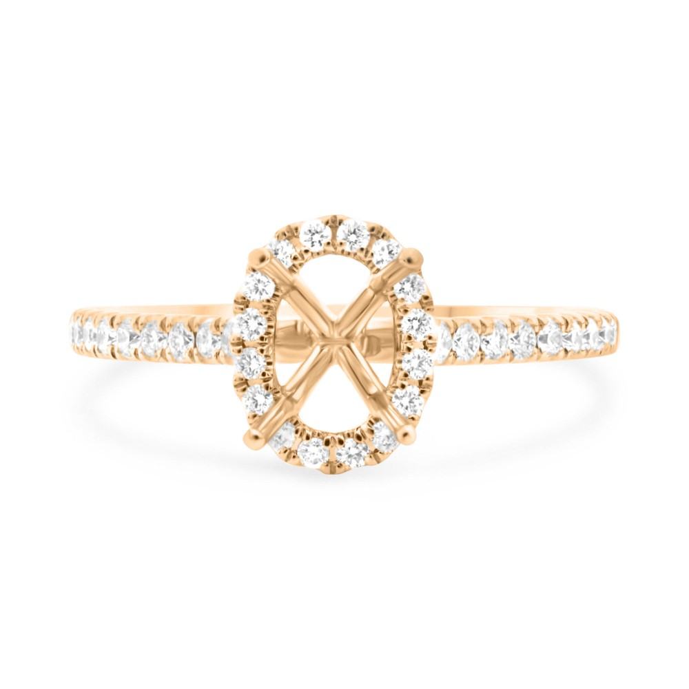 Rose Gold Oval Halo Classic Diamond Engagement Ring by Roman + Jules