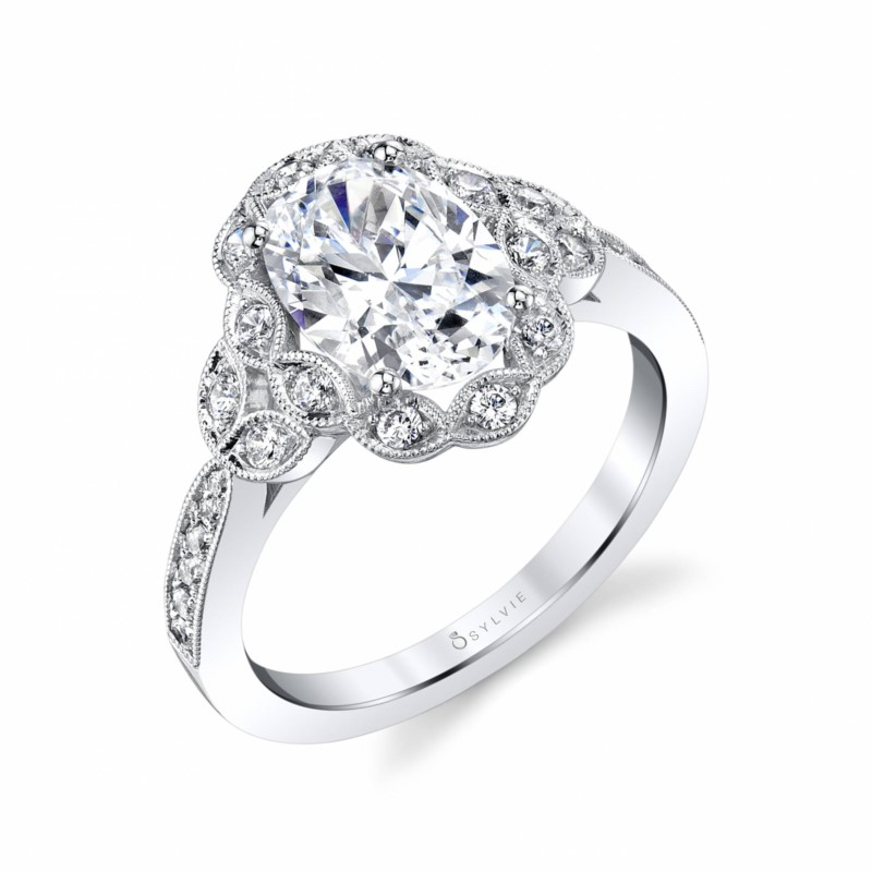 Sylvie Flower Oval Shaped Engagement Ring by Sylvie Engagement Rings