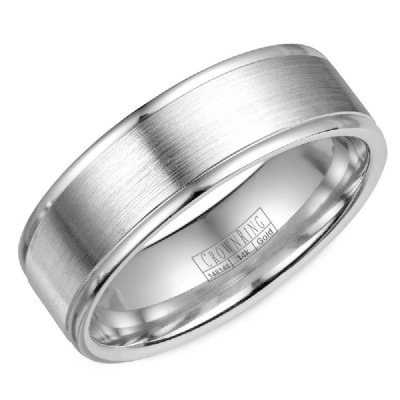Crown Ring Lite Collection White Gold Wedding Band by Crown Ring Wedding Bands