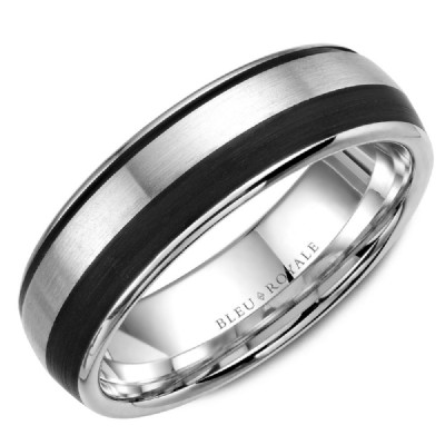 Bleu Royale Collection White Gold & Black Carbon Wedding Band by Crown Ring Wedding Bands