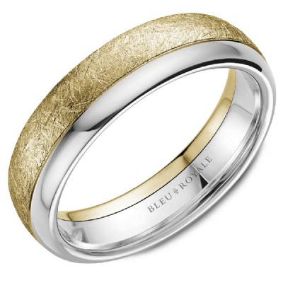 Bleu Royale Collection Yellow & White Gold Wedding Band by Crown Ring Wedding Bands
