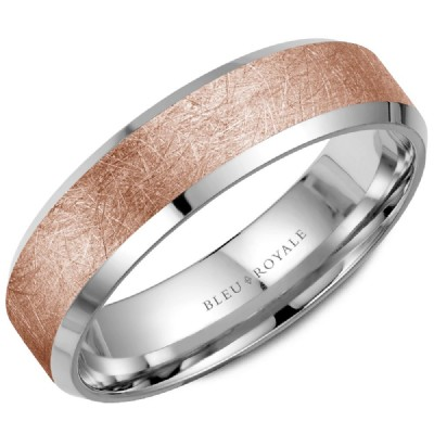 Bleu Royale Collection Rose & White Gold Wedding Band by Crown Ring Wedding Bands