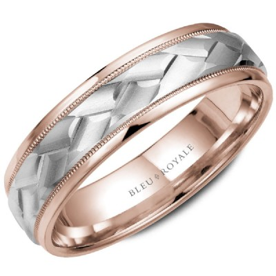 Bleu Royale Collection White & Rose Gold Wedding Band by Crown Ring Wedding Bands