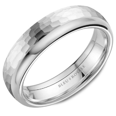 Bleu Royale Collection White Gold Wedding Band by Crown Ring Wedding Bands