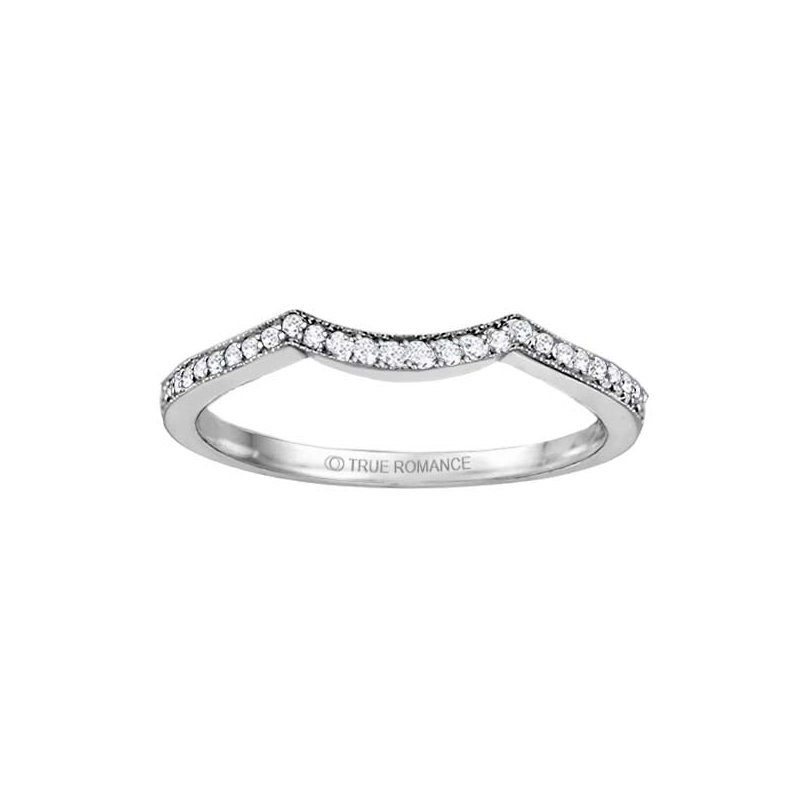 True Romance 14K White Gold Freeform Bypass Wedding Band by True Romance