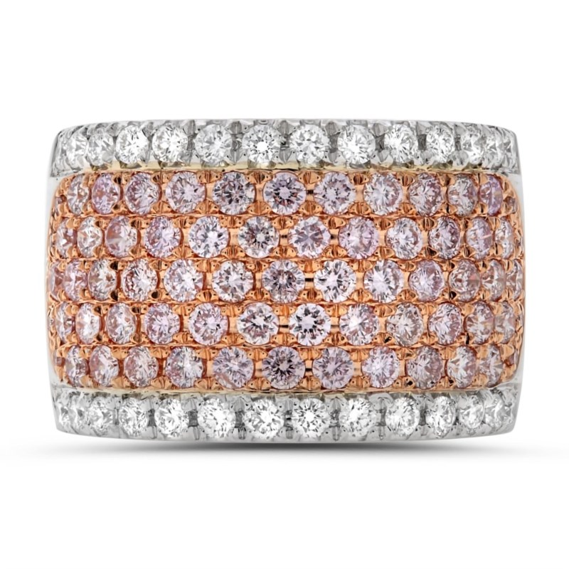 White and Rose Gold Diamond Wedding Band by Roman + Jules