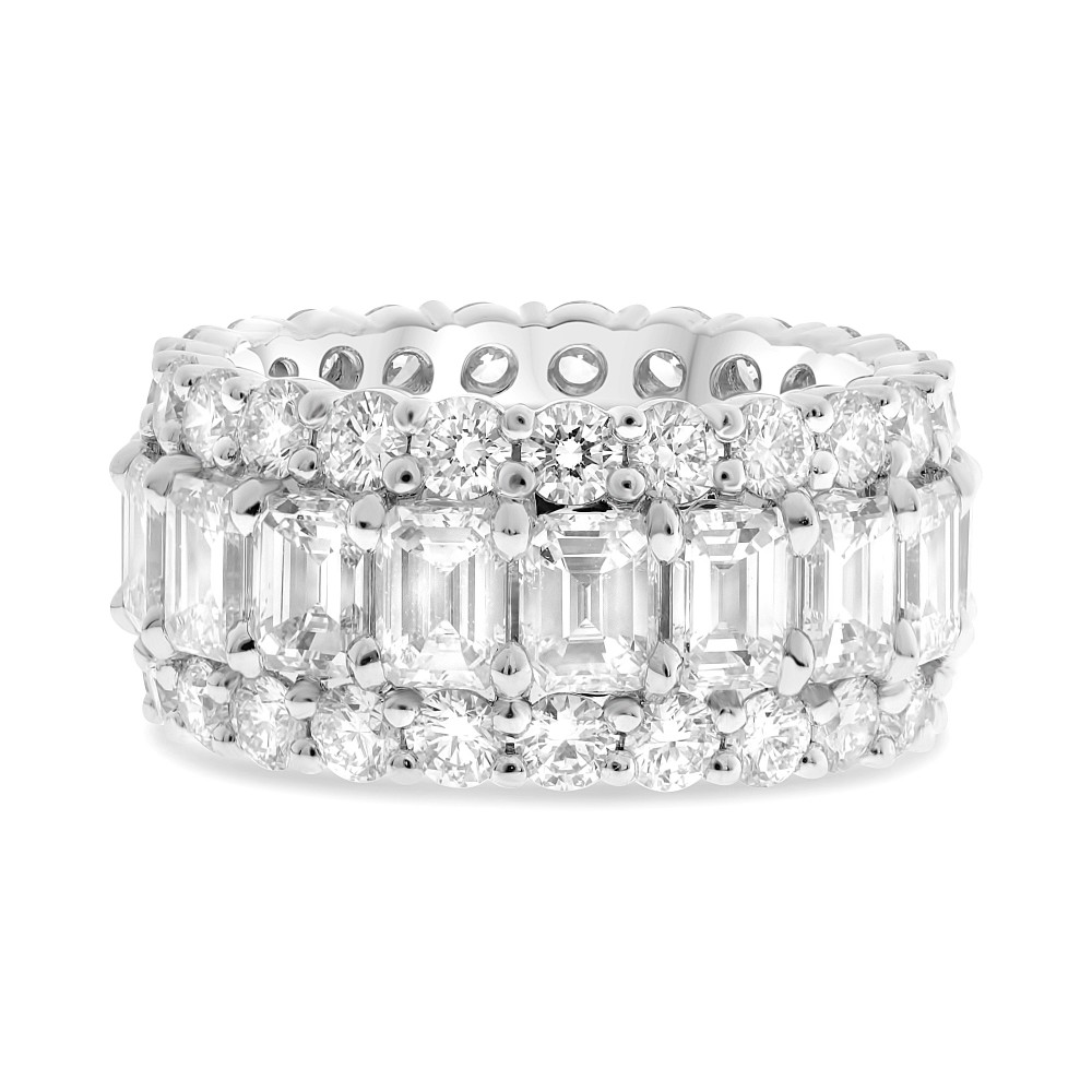 Platinum and Diamond Triple Row Eternity Band by Roman + Jules