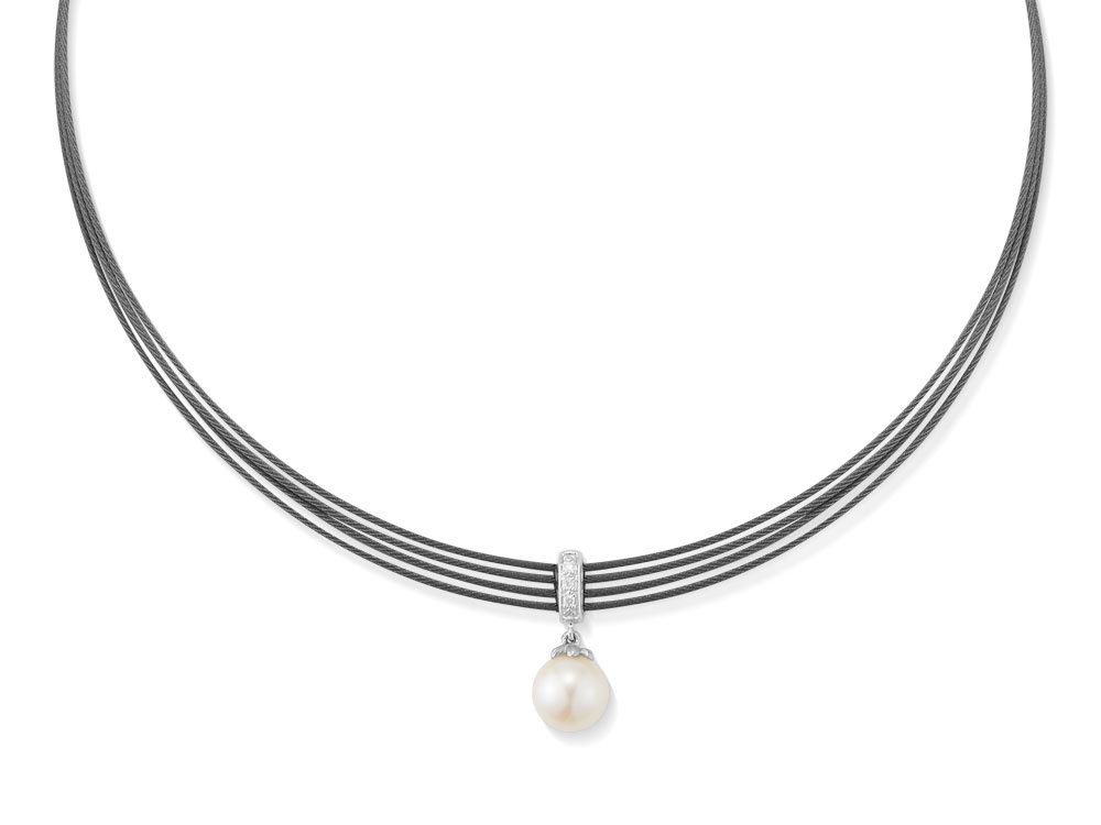 ALOR Black Cable, Pearl, & Diamond Necklace by ALOR Fine Jewelry