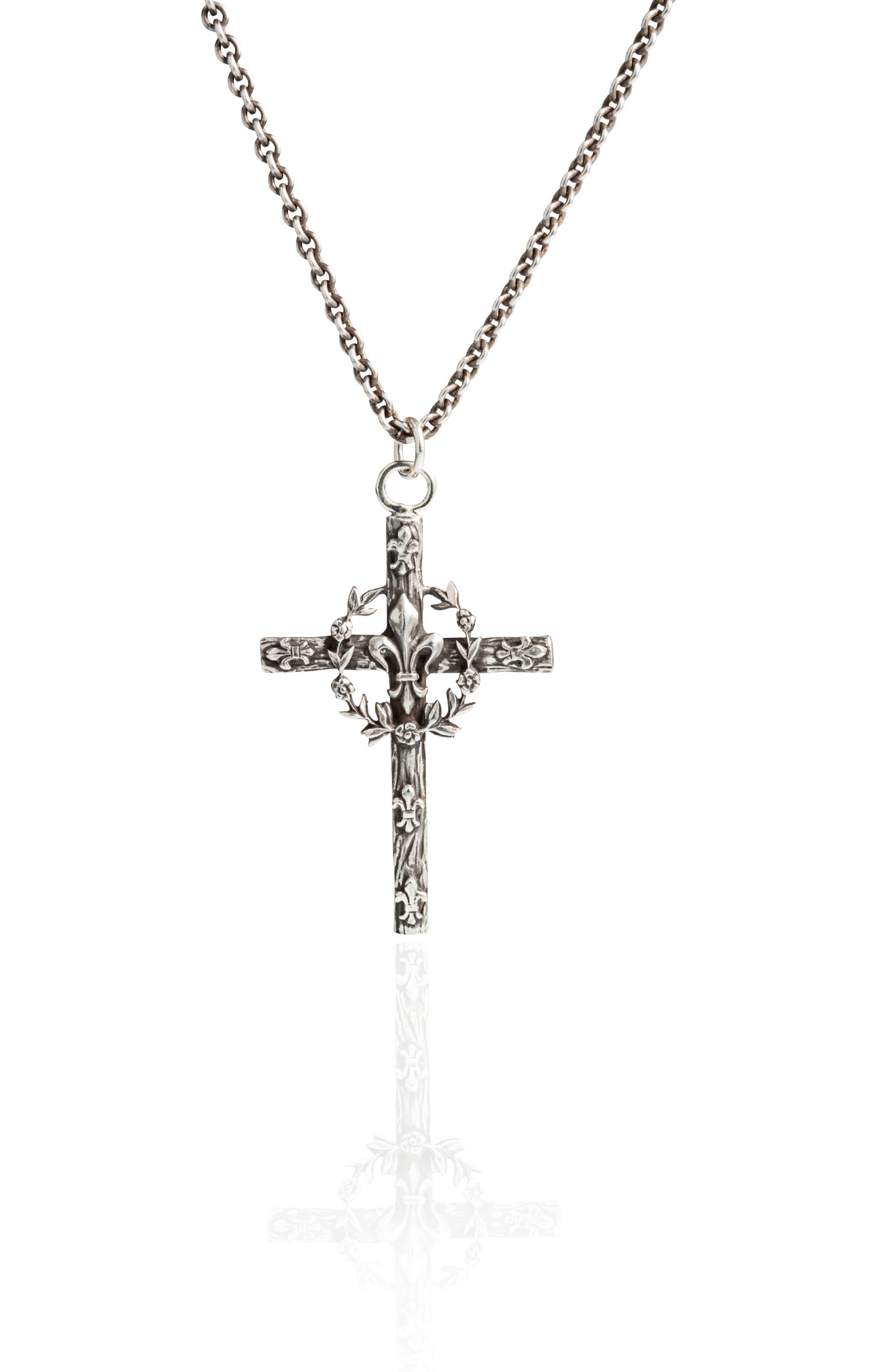 Brother Wolf Sterling Silver Fleur-De-Lis Cross by Brother Wolf Religious Jewelry