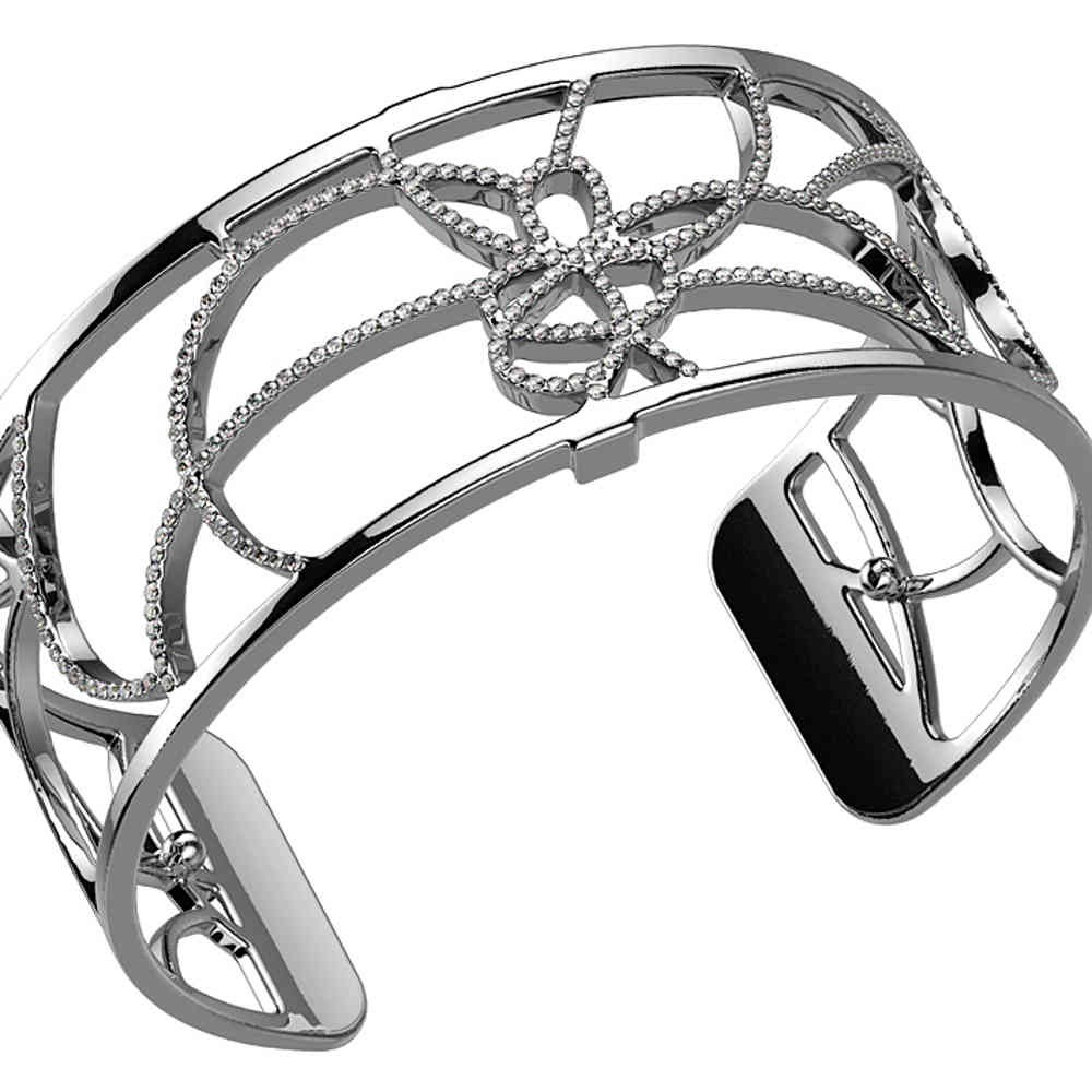 Les Georgettes Petales Cuff - Silver Plated, Medium 25 mm by Les Georgettes