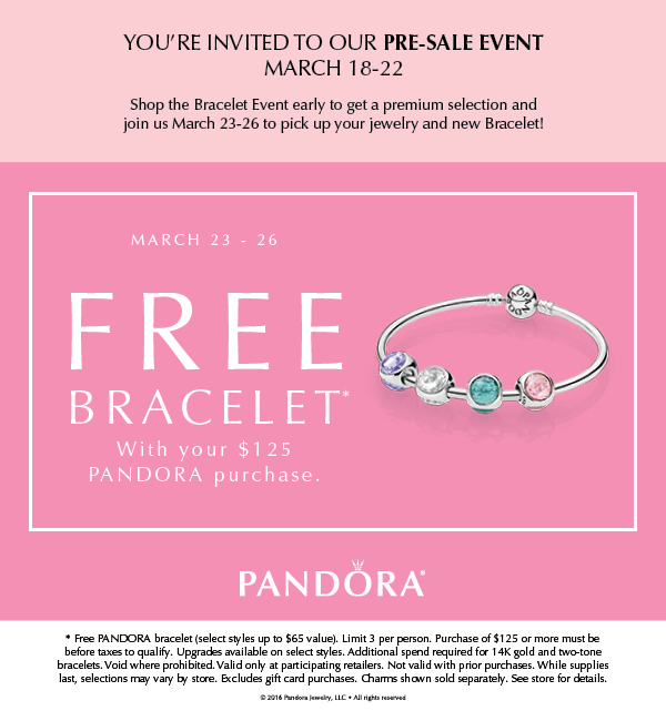 when is the next pandora free bracelet event pandora free bracelet event march 2017 3559